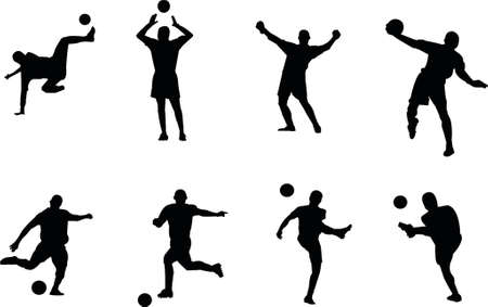 more soccer silhouettes Stock Illustratie