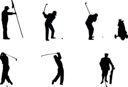 golf silhouettes Stock Vector - 466007