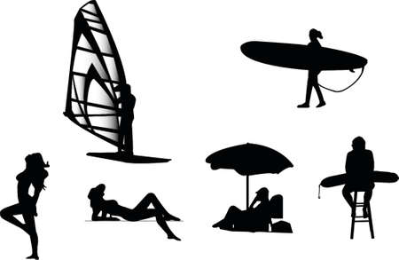 body guard: beach silhouetes Illustration