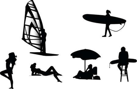sexy umbrella: beach silhouetes Illustration