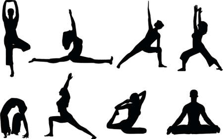 abdominal exercise: yoga silhouettes Illustration