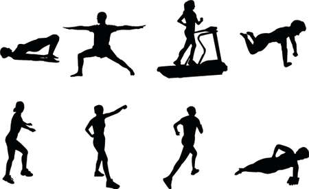 fitness silhouettes Illustration