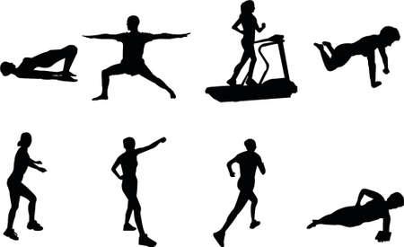 siluetas de fitness Ilustración de vector