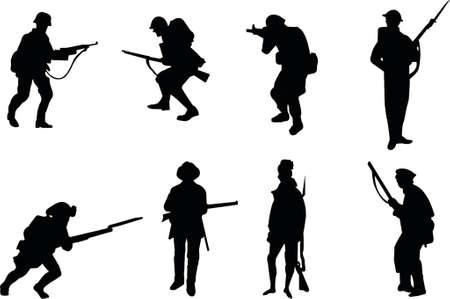 soldado: Soldados siluetas