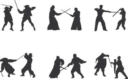 esgrima: espada lucha Vector