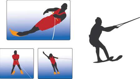 water skiing: water skiing illustration