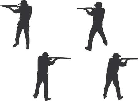 siluetas de los riflemen Ilustración de vector