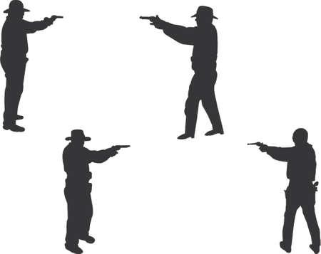 gunmen silhouettes Vector