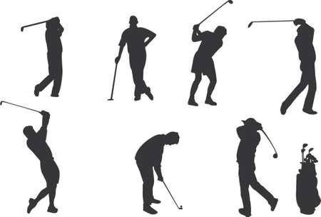 golfers silhouettes Stock Vector - 539048