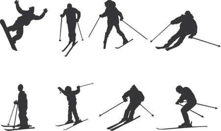 skier: skiing vector Illustration