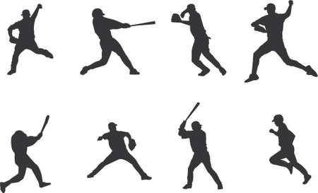 homerun: baseball players silhouettes Illustration