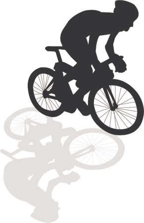 cyclist silhouette: Bicycle silhouette with shadow