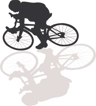 Bicycle vector silhouette with shadow