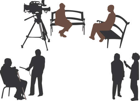 interview silhouettes Vector