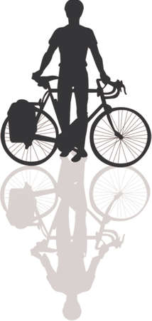 bicycle silhouette: Bicycle silhouette with shadow