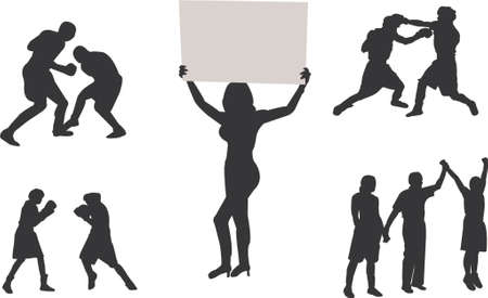 soxing silhouettes Vector