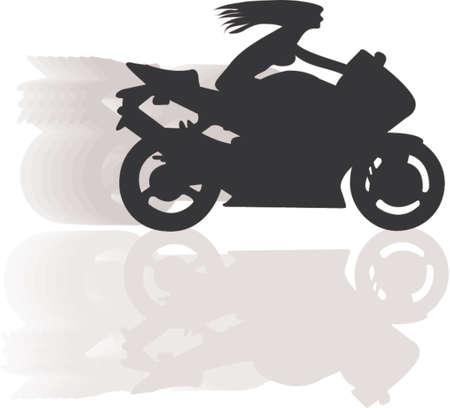 biker girl in high speed Vector