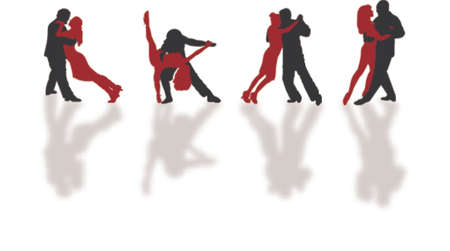 tango dance: dancing silhouetes Illustration