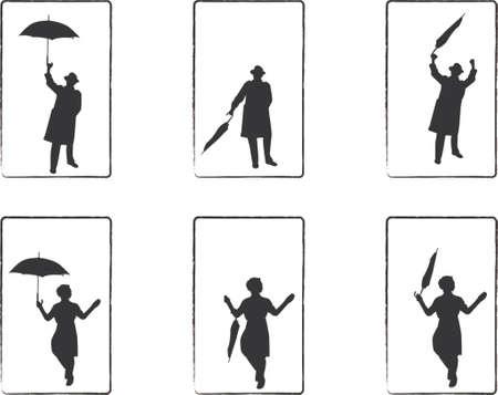 rain man and umbrella girl illustrations Stock Vector - 654333