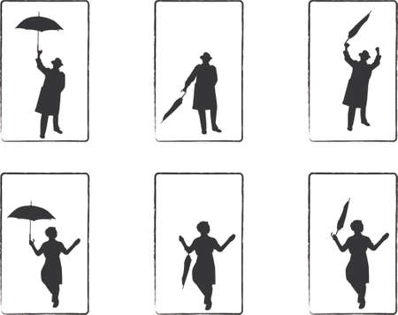 close icon: rain man and umbrella girl illustrations