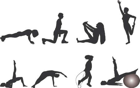 woman jump: exercise silhouettes Illustration