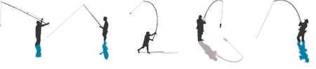 fishing pole: fisherman silhouettes Illustration