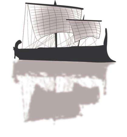 row boat: ancient greek trireme illustration