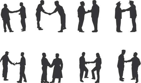 handshake silhouettes Vector