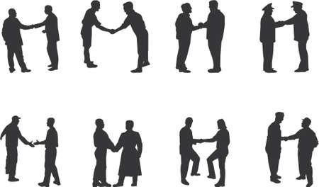 negotiating: handshake silhouettes