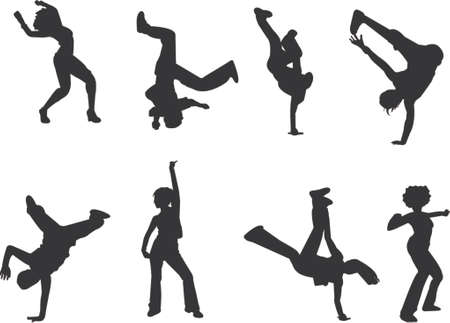 acrobatics: hip-hop and breakdance silhouettes