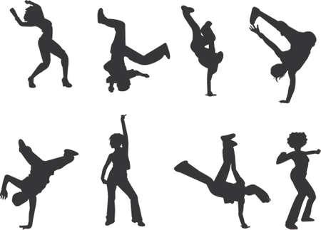 the acrobatics: hip-hop y breakdance siluetas