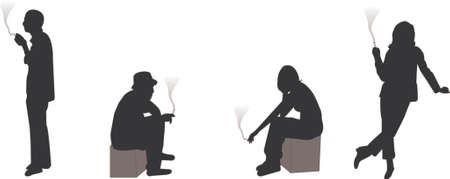 man smoking: smoking silhouettes