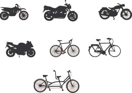 bicycle silhouette: motorbikes and bicycles