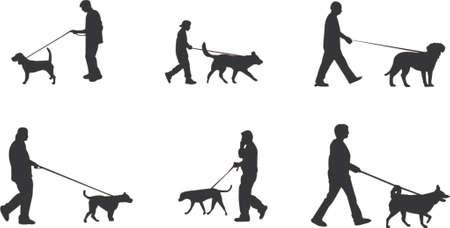 caminar: Pasear al perro siluetas