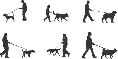 dog ear: walking the dog silhouettes Illustration