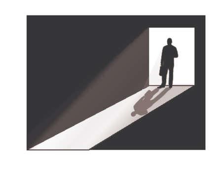businessman silhouette at doorway Vector