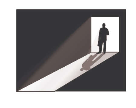 the stranger: businessman silhouette at doorway Illustration