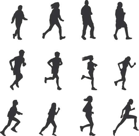 runners and joggers silhouettes Illustration