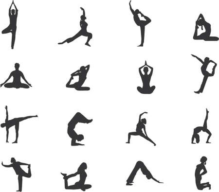 sweating: few more yoga silhouettes Illustration