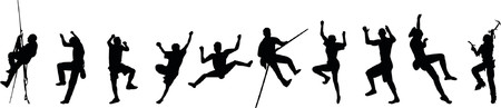 Free climbing silhouettes