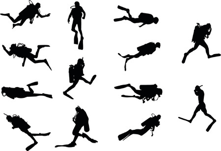 divers silhouettes