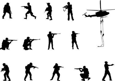 silhouettes armées d'hommes