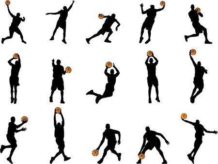 Silhouettes de basket-ball  Banque d'images - 2038495