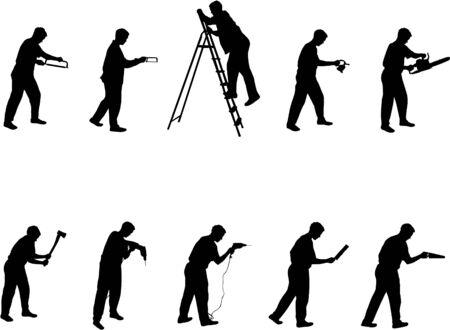 hombre con herramientas de siluetas  Ilustración de vector