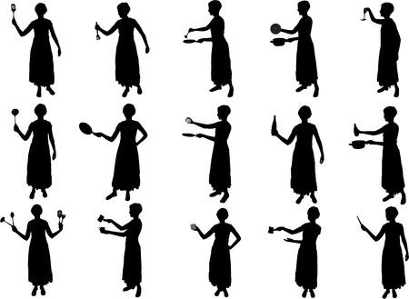 girl cooking silhouettes Ilustração