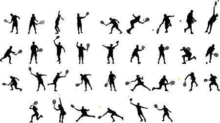 tennis players silhouettes Ilustração