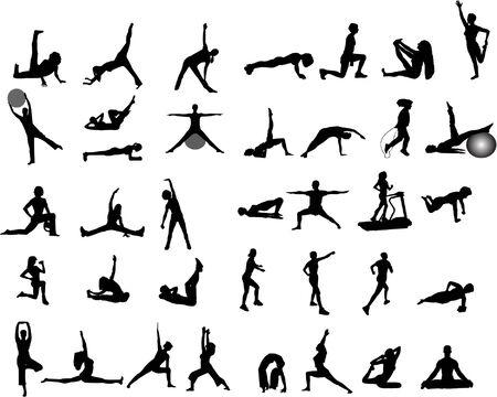 exercise aerobics yoga silhouettes