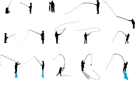fishing silhouettes Ilustração