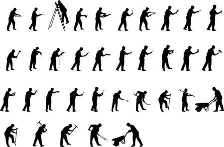 working man silhouettes Ilustração