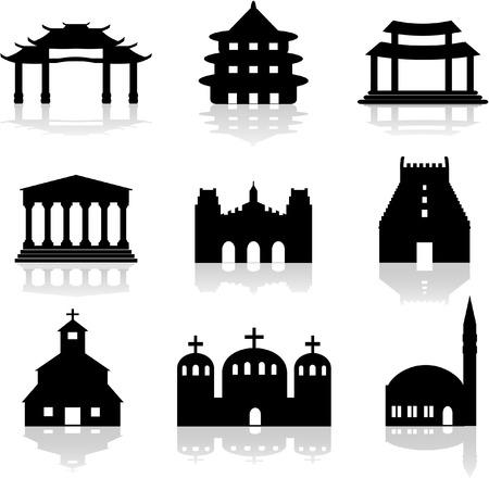 templo de la iglesia y varias ilustraciones